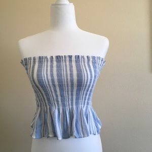 Cropped Blue and White Striped Tube Top